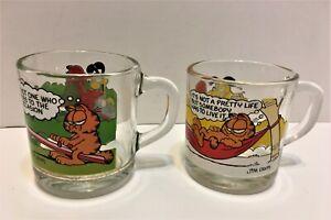 SET of 2 VINTAGE McDONALD/'S GARFIELD ODIE collectible GLASS MUGS CUPS JIM DAVIS