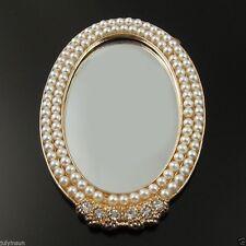 4PCS Cellphone Case Deco Bling Pearl Oval Flatback DIY Mirror 82*56mm 36143