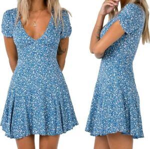 Women-Boho-Floral-Printed-V-Neck-Short-Dresses-Evening-Party-Beach-Summer-Sexy-D