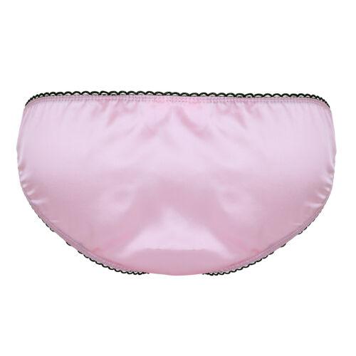 Men/'s Underwear Panties Low Rise Bikini Soft Satin Micro Thong Brief Sissy Pouch
