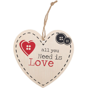 All You Need Is Love Hanging Heart Sign Shabby Chic Sentimental
