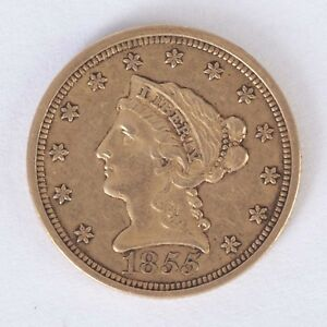 Image Is Loading U S 1855 Liberty Head 2 D Solid Gold