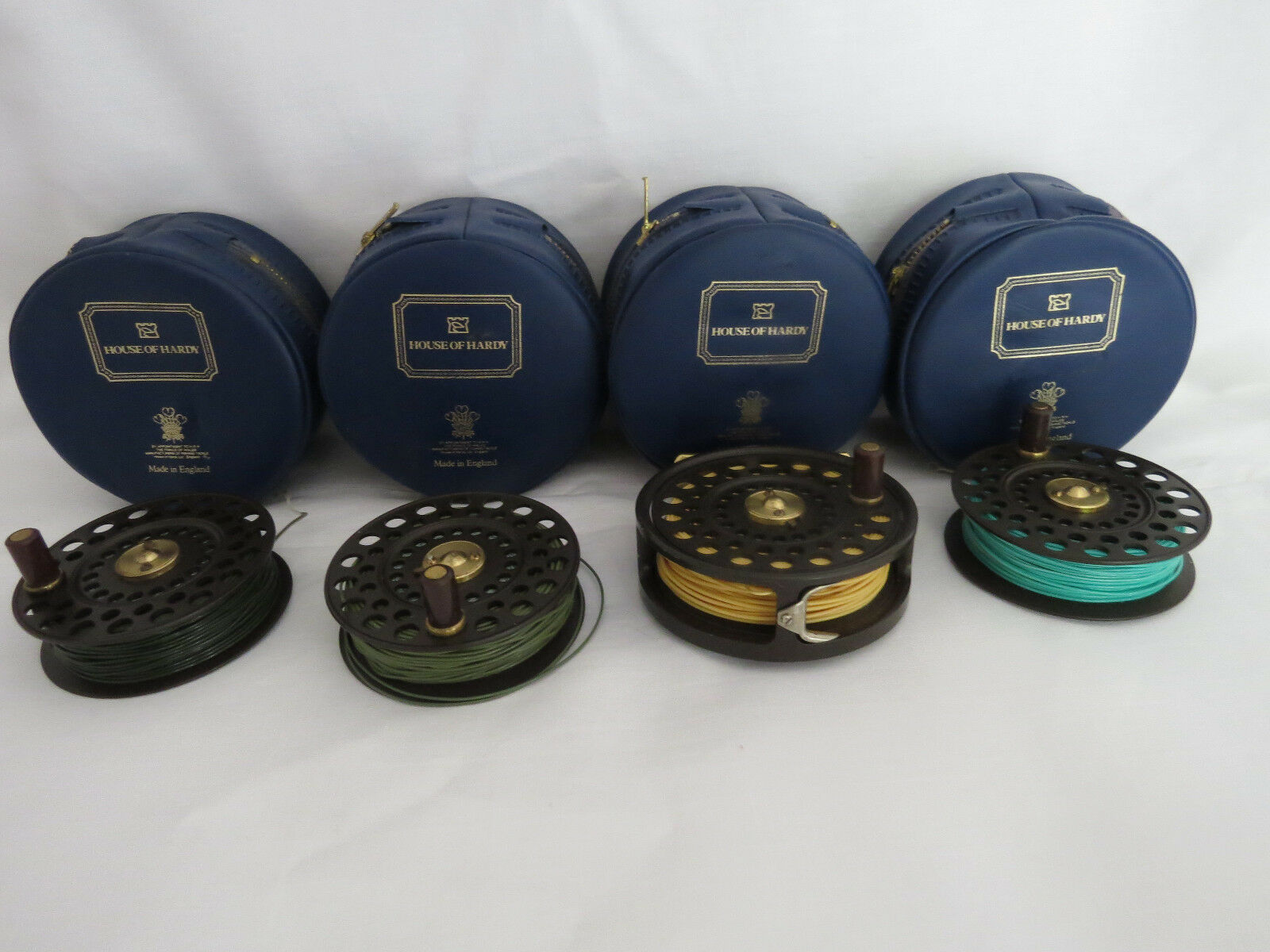 HARDY goldEN LRH LIGHTWEIGHT FLY REEL +3 SPARE SPOOLS 4 HARDY CASES AND 4LINES