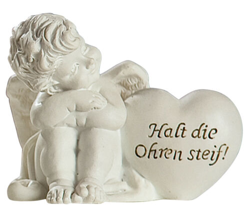 Schutzengel mit Spruch Dekoengel Engelsfigur Mutmacher antik weiß Lustig 8 cm