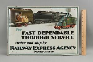 Rare Authentic Antique 1920s Railway Express Agency Tin Train Truck Cargo Sign