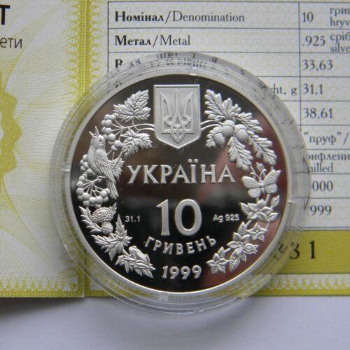 Mouse KM# 89 GARDEN DORMOUSE 1999 Ukraine 10 Hryvnia Silver Proof Coin Faune