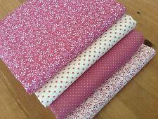 Blenders ROSE DUSTY PINK leaf & dots quilting fabrics FQ Bundle 100% cotton