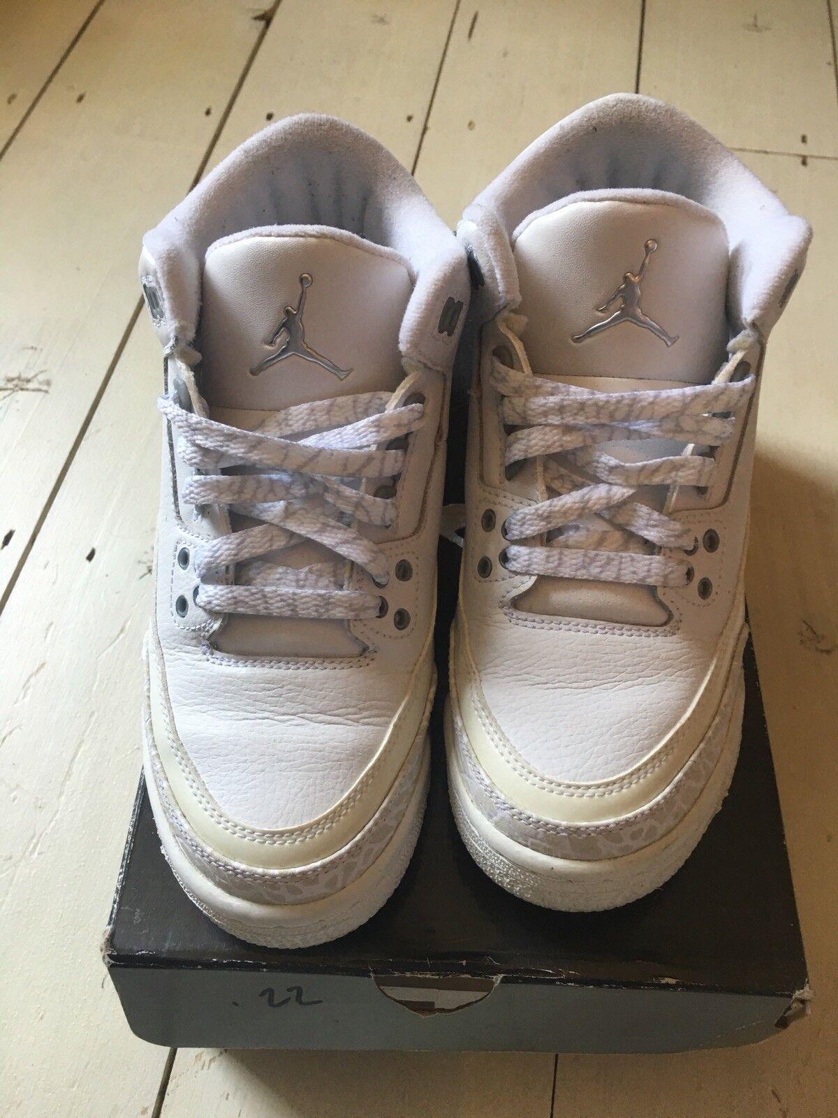 Air Jordan Retro 3 bianco puro denaro GS 5.5y EU 38
