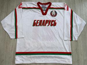 IIHF-Weisrussland-Eishockey-Trikot-Gawe-Worn-Ice-Hockey-Belarus-Shirt-Jersey-L