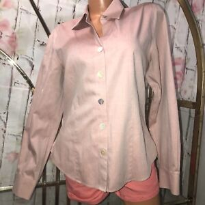 Coldwater-Creek-Women-039-s-Button-up-Shirt-size-M-pink-100-cotton-EUC-N5