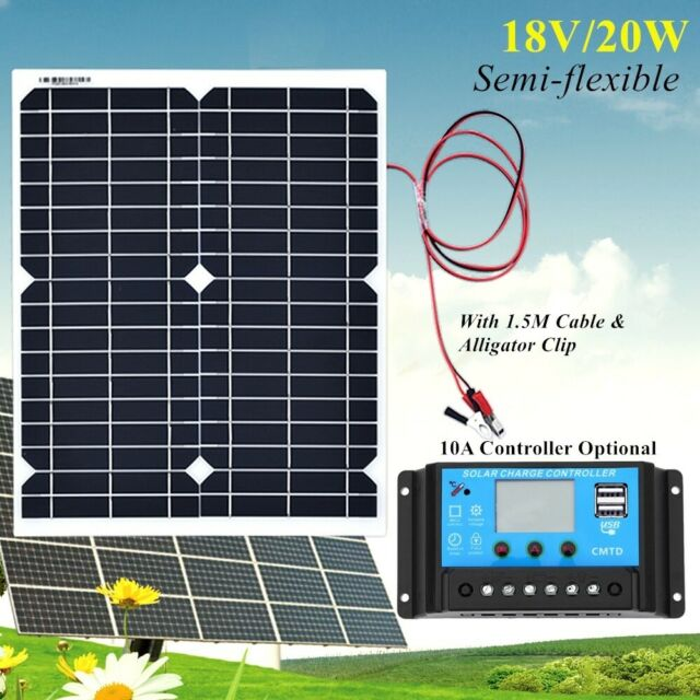 20W 18V Flexible Solar Panel+10A Controller for Boat Home Car 12V Battery Charge
