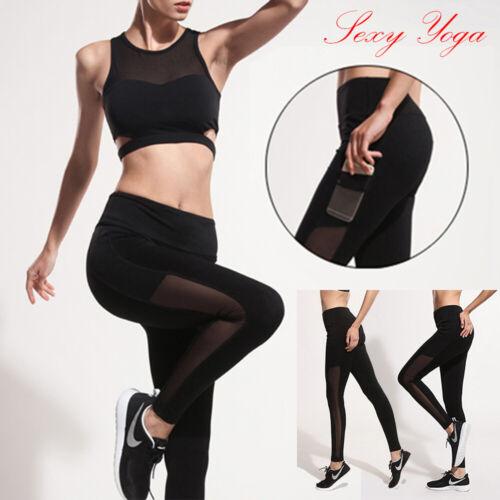 Womens High Waist Black Mesh Gym Leggings Yoga Pants Fitness Running Trousers