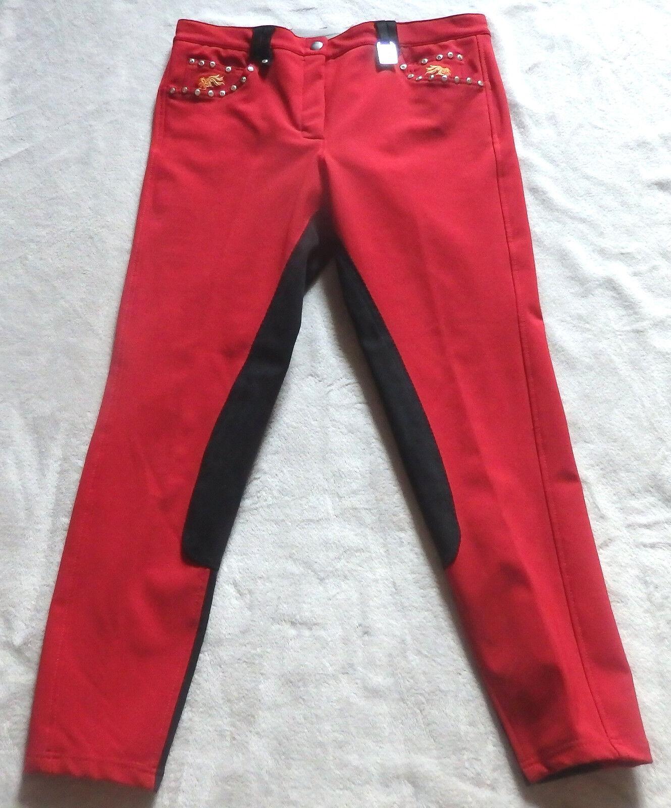 Kyron Damen Reithose LEXY, 3 3 3 4 Vollbesatz,rot, Gr. 42, (90) 888a05