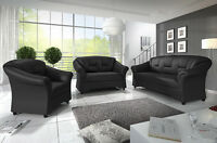 Texas 3+2 Or 3+2+1 Sofas Suite Black Brown Faux Leather High Back Couches