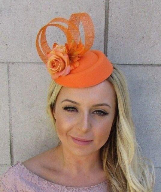Orange Rose Flower Pillbox Hat Hair Fascinator Clip Races Wedding Headpiece  5806 d790c841a6f