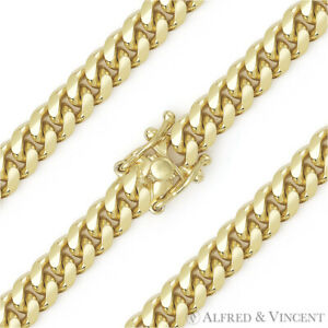 6-4mm-Miami-Cuban-Curb-Link-Sterling-Silver-14k-Yellow-Gold-Italy-Chain-Necklace