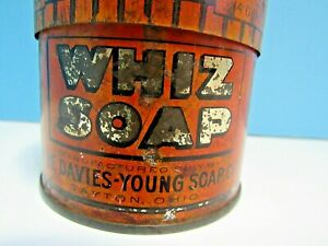 VINTAGE-1930-039-s-WHIZ-SOAP-14-oz-ROUND-TIN-HAND-CLEANER-amp-GENERAL-KITCHEN-USE