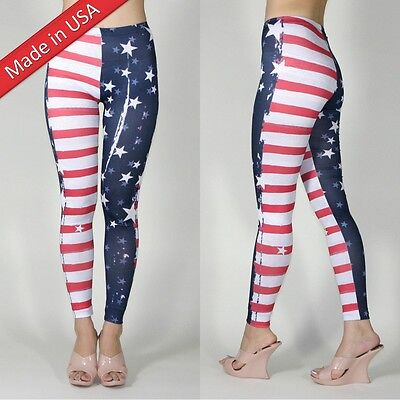 New Weathered Print Women Sexy American Flag Super Woman Hero Leggings Pants USA