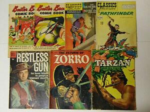 Lot-of-7-1950s-Comic-Books-Buster-Brown-Classics-Illustrated-Tarzan-Zorro