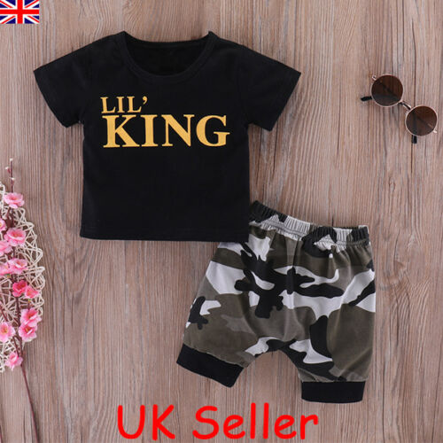Infant Baby Boys Kids Summer Clothes LIL/'S KING T-shirt+Camo Shorts Outfits Set