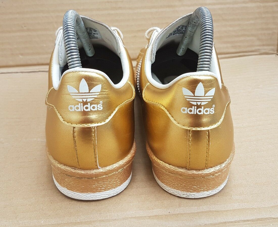 ADIDAS SUPERSTAR 80'S TRAINERS METALLIC GOLD WITH IN METAL TOE IN WITH SIZE 4 UK RARE b0fd6a