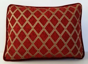 Details about red gold geometric chenille throw pillows with piping for  sofa chair or couch