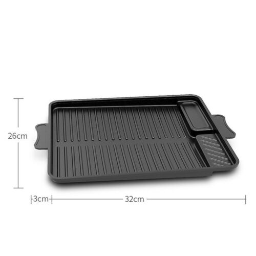 Non-Stick Aluminium BBQ Griddle Plate Grill Pan Reversible Hob Cooking Tray Pans