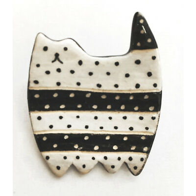Ceramic Cat Brooch Black White Handmade Jewelry