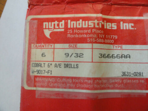 """PN W-9017-F1 NYTD 9//32/"""" HSS 6/"""" Aircraft Extension Drill Bits Type 36666AA"""