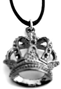 KING'S CROWN Silver Lightweight Necklace With Adjustable Black Cord