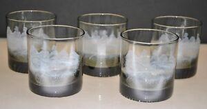 VINTAGE-SMOKED-ROCKS-GLASSES-WITH-GREEK-FIGURES-ON-HORSES-SET-OF-5