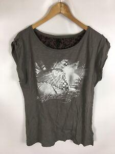 STILE-BENETTON-T-Shirt-grau-Groesse-L-100-Baumwolle