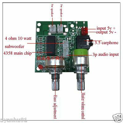 DC 5V 20W 2.1 Channel 3D Surround Digital Stereo Class D Amplifier Board Module