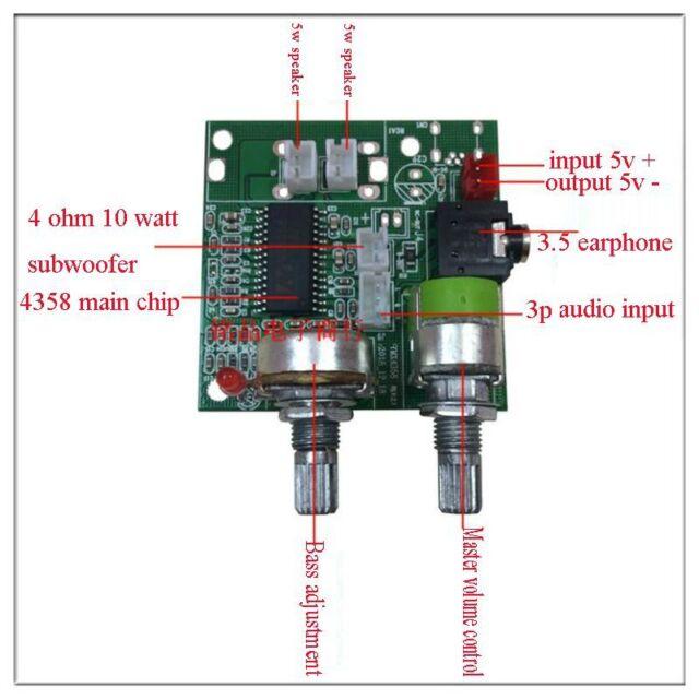 DC 5V 20W 2.1 Channel 3D Surround Digital Stereo Class D Amplifier Board Module