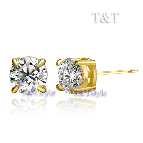 5 T/&T 14K GP 5mm Clear CZ Round Stud Earrings ER02A