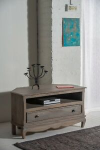 Details About Bourdeilles Corner Tv Cabinet Stand Unit Solid Shabby Chic In Mango Free Del