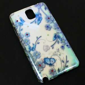 Samsung-Note-3-III-Hard-Shell-Phone-Case-with-Blue-Flower-Butterfly-Design