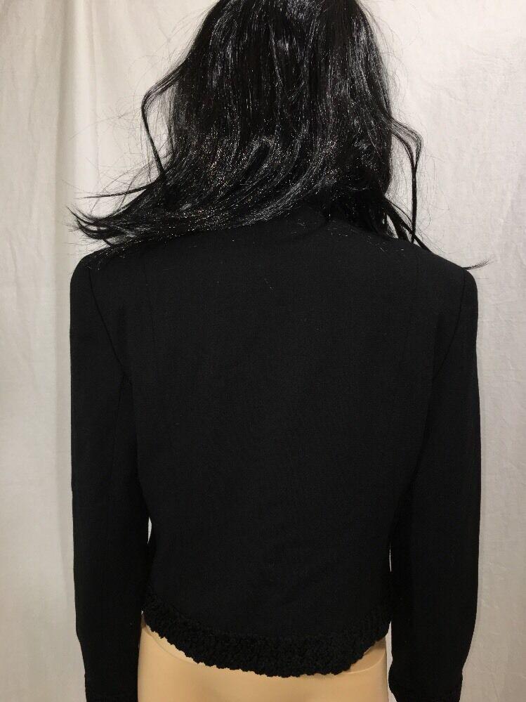 1980s Arnold Scaasi Blazer Evening Black Embroide… - image 5