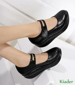 new-Womens-Black-Leather-Pumps-Shoes-Nurse-Shoes-Round-Toe-Wedge-Heels-Mary-Jane