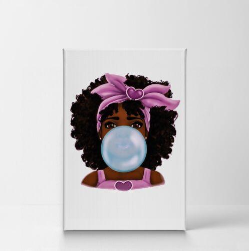 African Girl Bule Bubble Gum Chewing Gum CANVAS PRINT CANVAS PRINT Wall Art