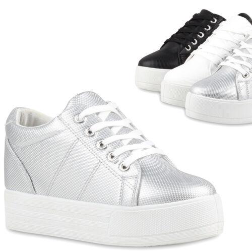 Damen Plateau Sneaker-Wedges Helle Sohle Sneakers Keilabsatz 79742 Trendy