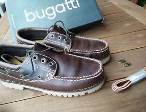 online store 7395c 09e8b Details zu Bugatti Bootsschuhe Segelschuhe 42 Leder Timberland Schnürsenkel