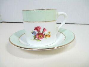 Vintage-Rosina-Bone-China-England-Demitasse-Cup-amp-Saucer-Pale-Green-Band-Floral