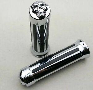 2pz-Manopole-Teschio-Universale-Manubrio-160mm-1-4-034-Cromo-Per-Moto-Harley