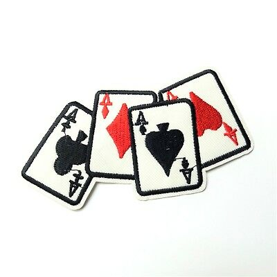 us seller 4 Aces Hand Cards Player Poker Patch Iron-On//Sew-On Embroidered 1577