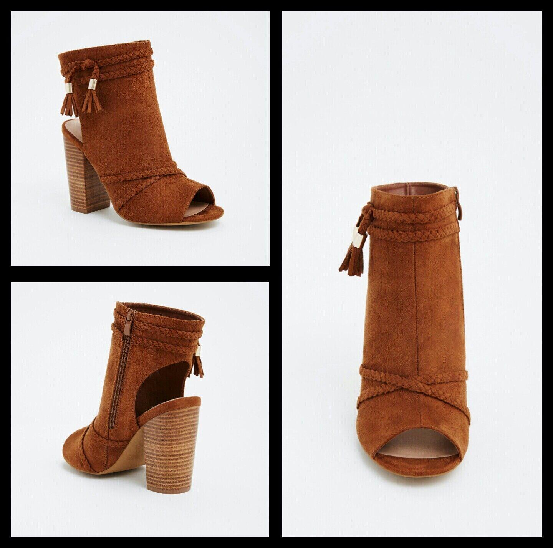 NIB Torrid Größe 11W Cognac Braided Tassel Cutout Heel Booties (Wide Width) #165
