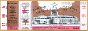 1 1967 ALL-STAR GAME VINTAGE UNUSED FULL TICKET BASEBALL reproduction laminated!