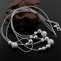 Fashion 925 Sterling Silver Drop Balls Pendant Necklace Chain Women Jewelry