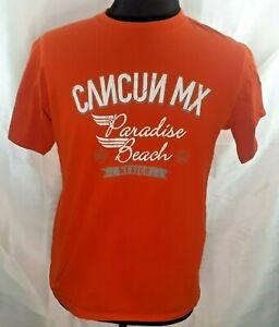 Cancun-paradise-beach-Mexico-souvenir-t-shirt-large-orange-cotton-short-sleeve