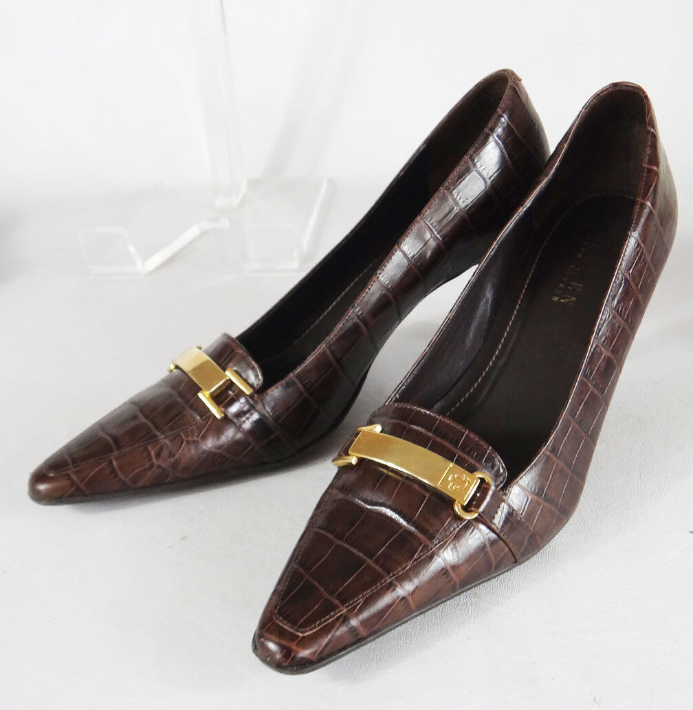 Ralph Lauren 9.5b Paulette alligator skin safari braun pointy square Gold heel